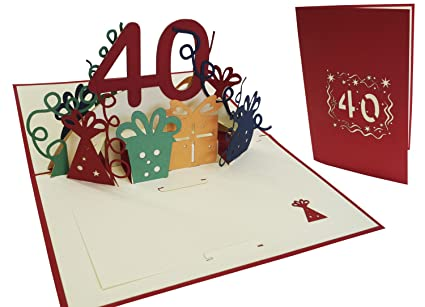 Amazon LIN Pop Up 3D Birthday Card For A Womens 40th Birthday