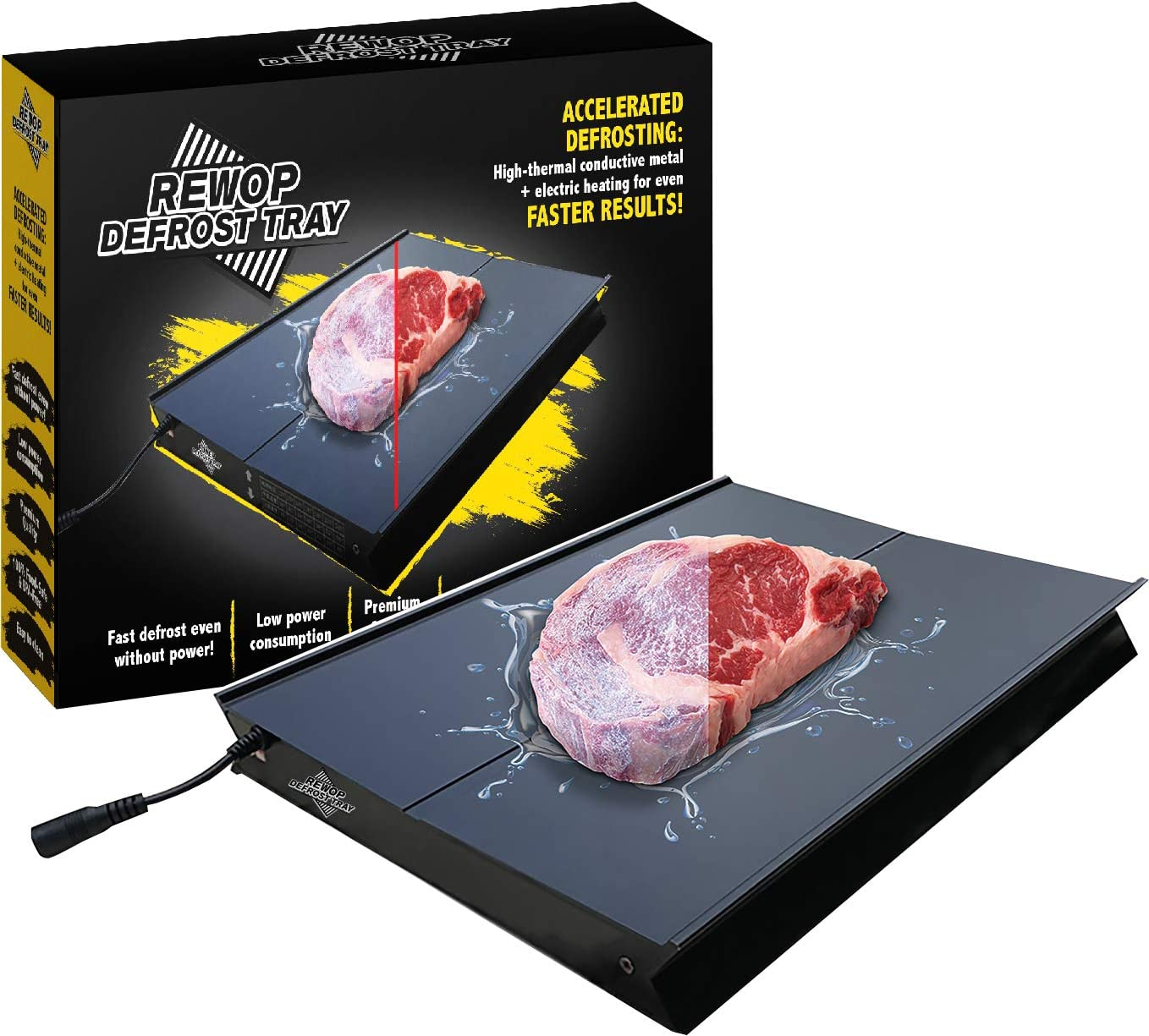 """Rewop Electric Defrosting Tray - Heating Tray For Defrosting Food, Rapid Meat Thawing Board, Thawing Plate, Low Power Consumption, Easy to Clean, Black, 12"""" x 9"""" Surface"""