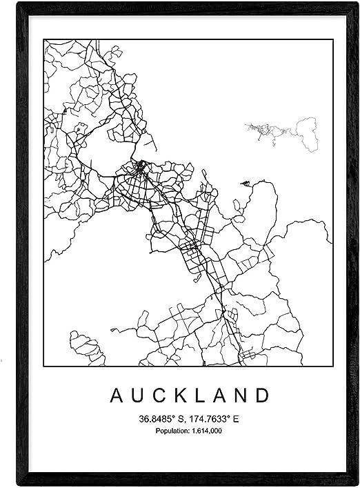 Nacnic Lámina Mapa de la Ciudad Auckland Estilo nordico en Blanco ...