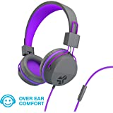 JLab Audio JBuddies Over-Ear Kids Wired Headphones | Toddler Headphones | Kid Safe | Studio Volume Safe | Volume Limiter | Folding | Adjustable | Noise Isolation | with Mic | Graphite/Purple