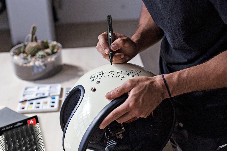 | Caja de 6 rotuladores para pintar ropa ARTEZA Rotuladores para tela Marcadores textiles permanentes de doble punta Color negro fina + biselada