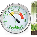 Compost Thermometer - Premium Stainless Steel Soil Thermometer Extra Thick Probe - Color Coded Fahrenheit Dial - Extra Long 20 Inch Stem - Composting Guide included - Ideal for Backyard Composting
