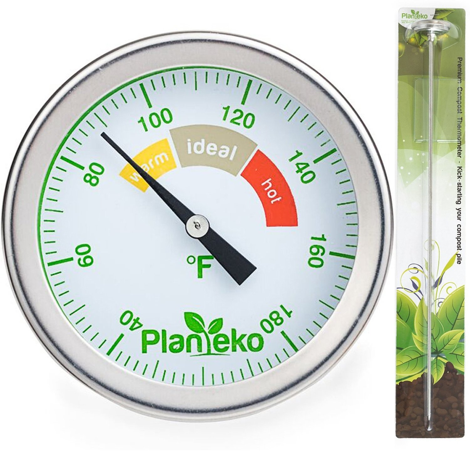 Planteko Compost Thermometer - Stainless Steel Soil Thermometer Extra Thick Probe - Color Coded Fahrenheit Dial - Long 20 Inch Stem - Composting Guide included