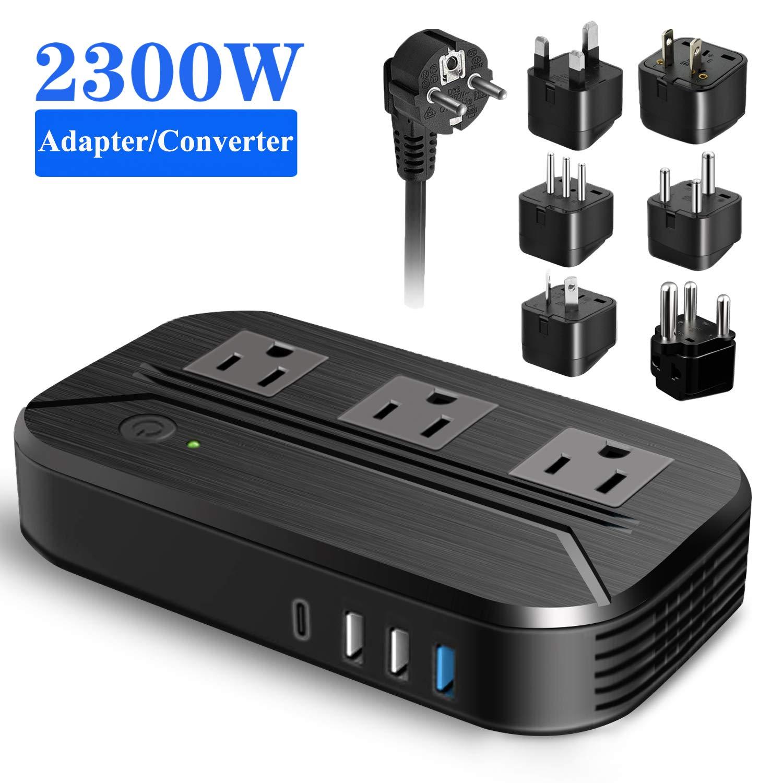 Voltage Converter 2300W International Power Converter Step Down 220v/240v to 110v/120v Travel Adapter Transformer w/ 4 USB 3 AC Outlets 7 Worldwide Plug Adapters EU/US/AU/IT/UK/India/South Africa