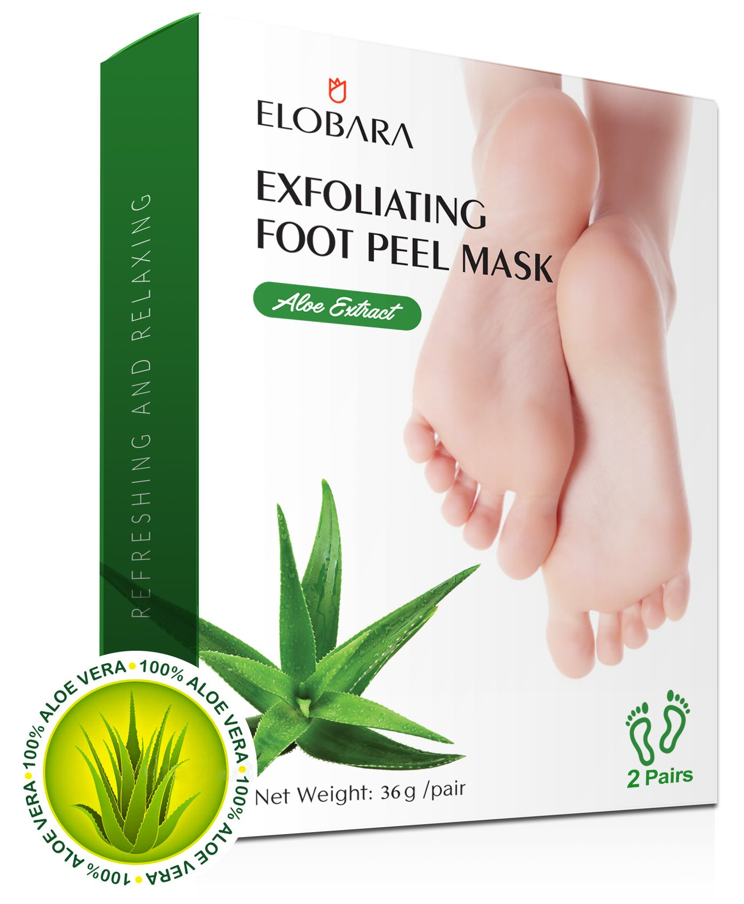 Exfoliating Foot Peel Mask, 2 Pairs, Elobara Foot Peeling Mask Remove Callus and Dead Skin, Baby Your Feet Soft and Smooth