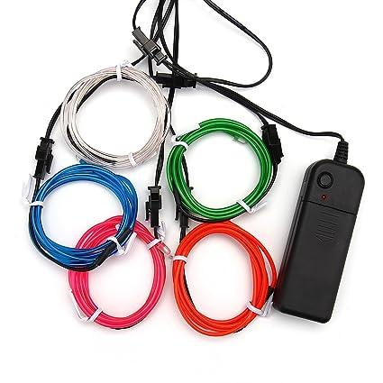 Amazon.com : ASOCEA 5 X 1 Metre Five Colors Neon Light El Wire with ...