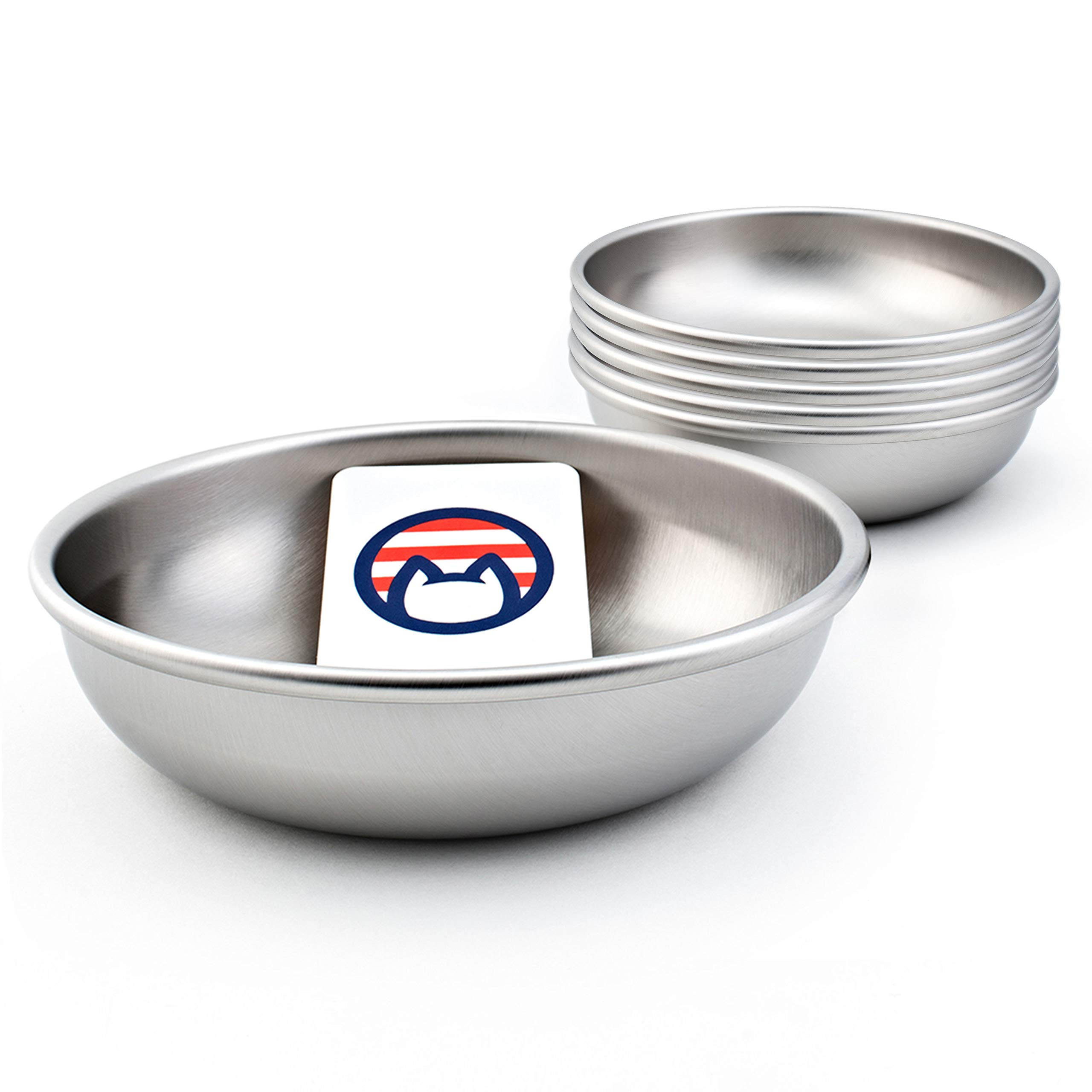 Americat Company Set of 6 Stainless Steel Cat Bowls – Made in The USA – Designed to Prevent Whisker Fatigue – Cat Food and Water Dishes (Set of 6)
