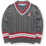 43265db7cb573 mimixiong(ミミクマ)キッズ Vネック ケーブル編み コットン ニット 長袖 セーター 男の子 子供服