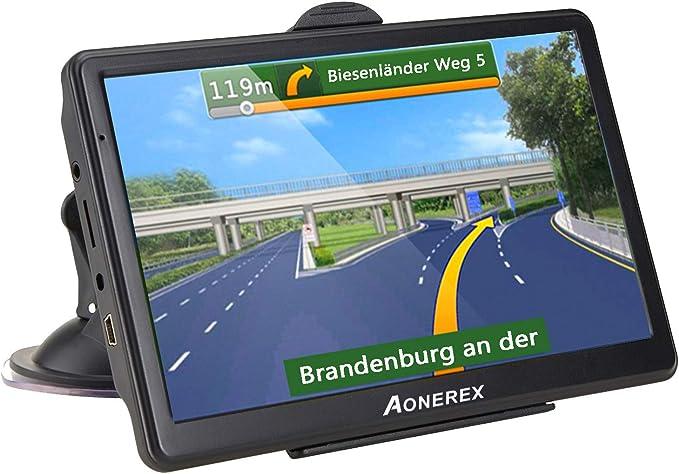 Aonerex Navigation Device 7 Inch Gps Navigation Resistive Display Navigation System Multilingual For Car Truck Car 8 Gb 256 Mb Lifetime Map Updates 52 Maps For Europe Uk Navigation Car Hifi