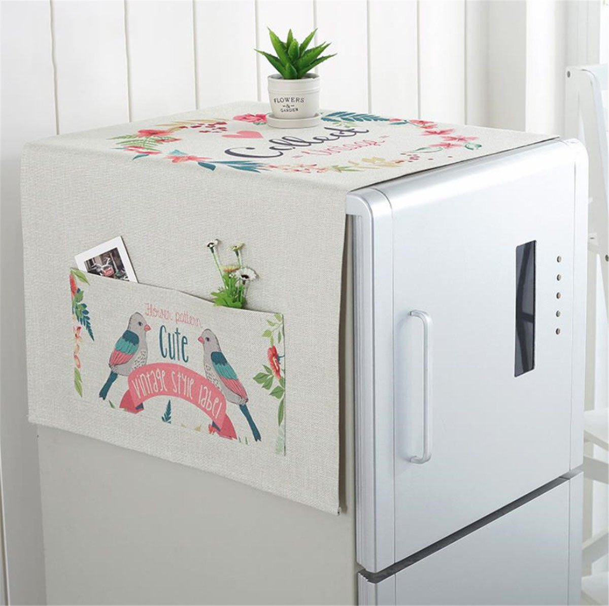 Mvchif Washing Machine Cover Dustproof Cotton Fridge Cover Decorative Top Load Cover with Side Storage Pockets 54x23inches (Cute Birds)