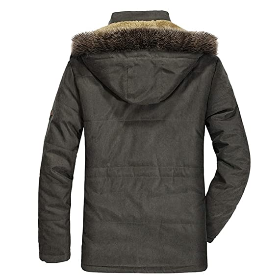 Amazon.com: Bomber Jacket Fur HoodedJackets Men Winter Windproof Windbreaker Thick Coat,Green,XXXL,: Clothing