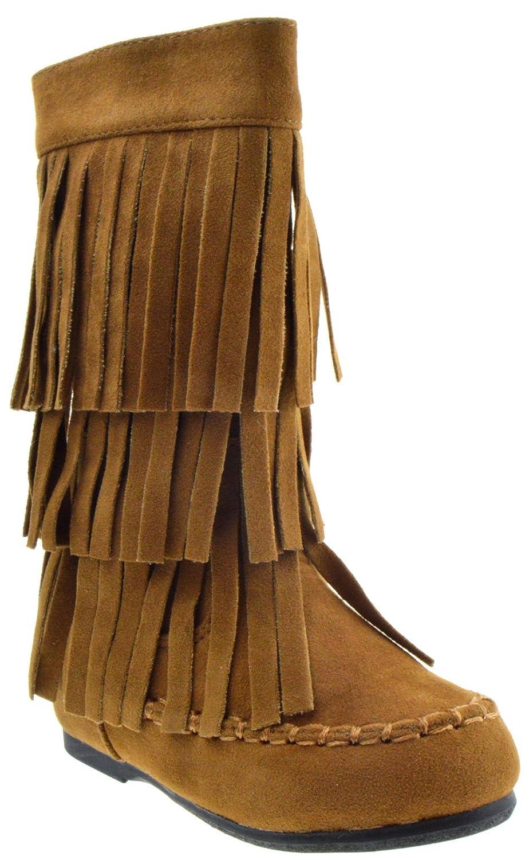 YOKI Ava 18T Baby Girls Moccasin 2 Layer Fringe Boots Rust