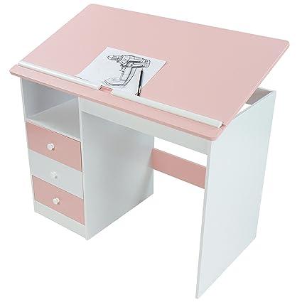 Mesa de Escritorio Infantil Blanca/Rosa con Tablero inclinable ...