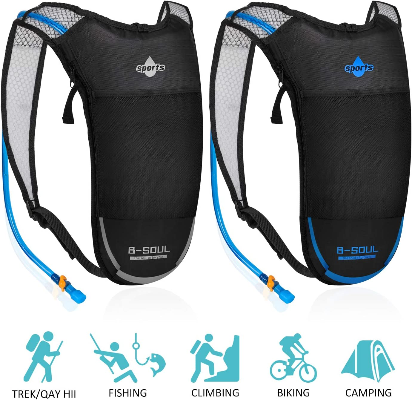 ACVCY 2 Pack Hydration Backpack,Lightweight Water Backpack with 2L Water Bladder and Adjustable Straps Daypack Perfect for Running, Hiking, Biking, Festivals, Raves