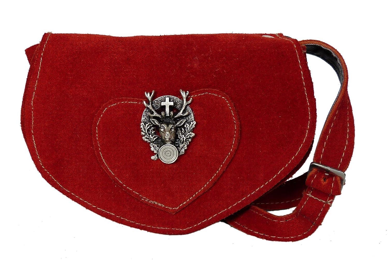Süsse Umhängetasche- Trachtentasche fürs Dirndl - Echt Leder - Wildleder Tasche (17x13x6 cm) B01LZ5XZ9M Accessoires Umweltfreundlich