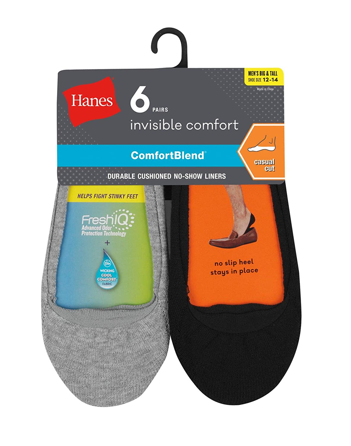Hanes Men's Invisible Comfort No-Show Liners 6 Pack IC16