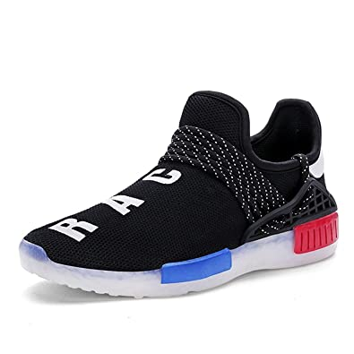 Man Letter Design Net Breathable Shoes Light Up Upgraded USB Charging LED Flashing Sneakers