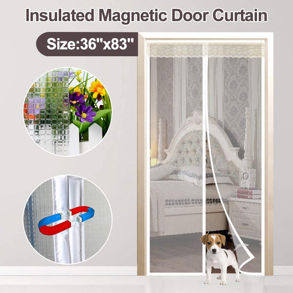 "Magnetic Doorway Curtain Fit Doors Up to 34""x82"", IKSTAR EVA Insulted Door Cover for Exterior/Interior/Kitchen Doors with Draft Stopper, Kids/Pets Walk Through Free and Hands Free Closure"