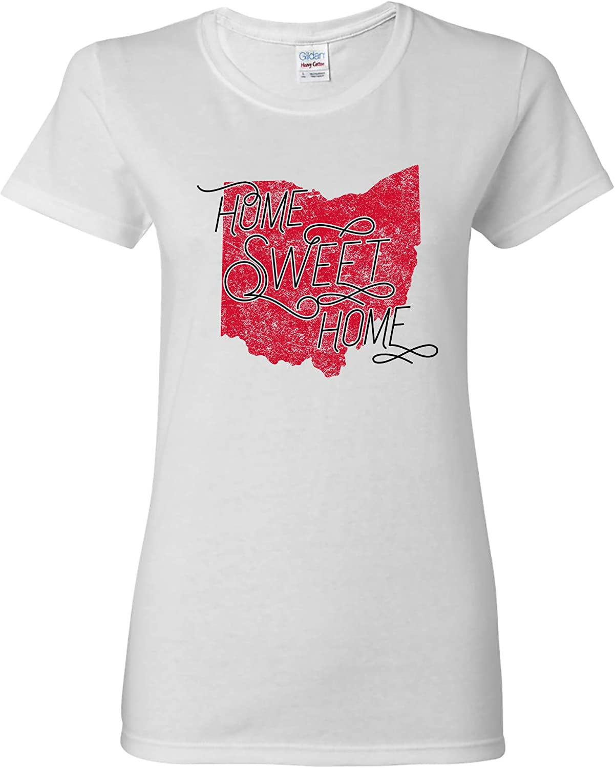 UGP Campus Apparel Ohio Home Sweet Home - State America Pride Womens T Shirt - Small - White