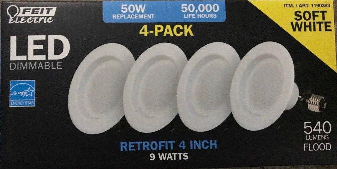 Feit LED 4'' Retrofit 2700K Soft White 540 Lumens 4-pack