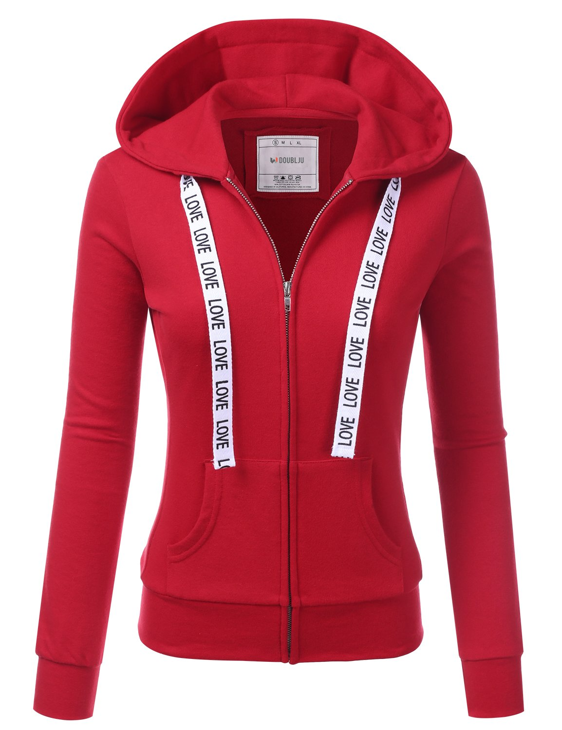 Doublju Lightweight Thin Zip-up Hoodie Jacket for Women with Plus Size RED Medium
