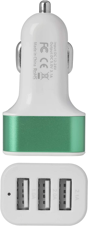 MCM Cargador de coche Adaptador de cargador de coche USB 3 puertos verde universal en cargador de teléfono de coche de carga rápida con luz led para iphone samsung