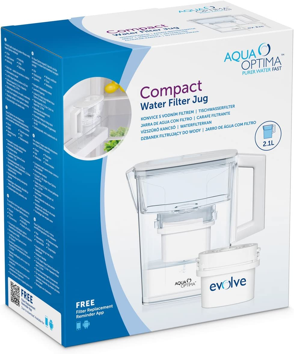 Aqua Optima Compact - Jarra filtrante, 2,1 l, color blanco: Amazon ...