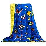 BUZIO - Manta con peso de 5 libras para niños, ultra acogedora, con puntos de Minky y algodón a un lado con dibujos…