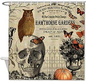 Shower Curtain,Modern Vintage Halloween Owl and Skull,Home Bathtub Polyester Fabric Shower Curtain for Bathroom Decor,Waterproof Washable,72x72''