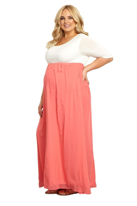 c730aef6902 PinkBlush Maternity Chiffon Colorblock Plus Maxi Dress at Amazon Women s  Clothing store