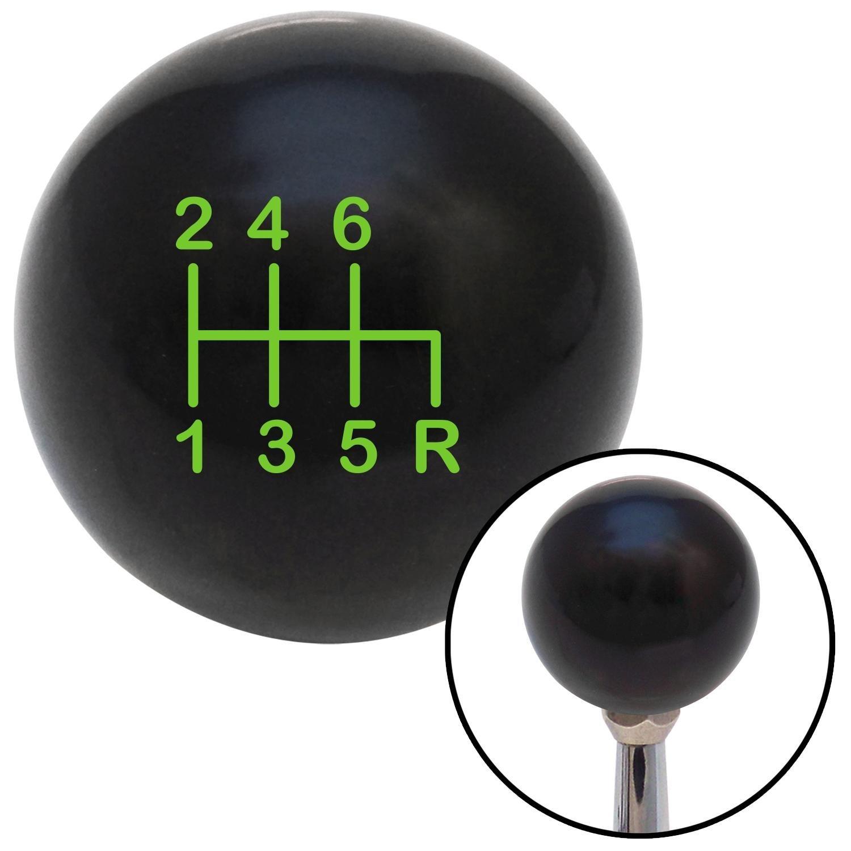 American Shifter 108573 Black Shift Knob with M16 x 1.5 Insert Green Shift Pattern 23n