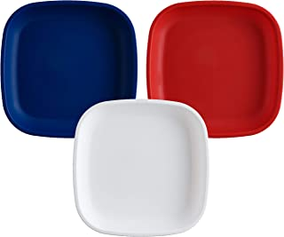 product image for Re-Play Made in USA 3pk Plates with Deep Sides for Easy Baby, Toddler - Red, White, Navy Blue (Patriotic)