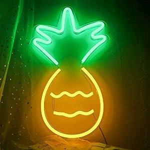 Pineapple Neon Sign,1710 inch Pineapple Neon Sign LED Light Art Decorative Novelty Kids Night Light Christmas Decor 5v USB Children Night Lamp Wall Light Festive Home Office Store Decor Light