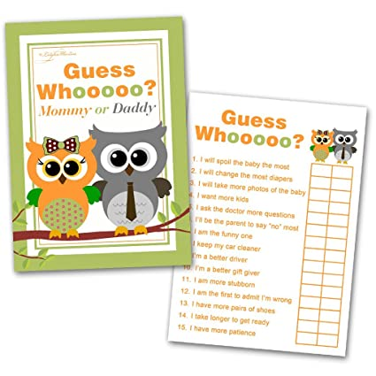 40 Baby Shower Game Cards 'Guess Who' Mommy of Daddy