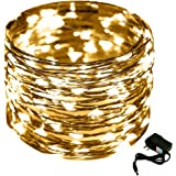 Warm LED String Light, CrazyFire 33ft/10m 100 LED Indoor Fairy Rope Light Flexible DIY Decorative Light with DC Power Adapter for Christmas Halloween Party Wedding Bedroom Decor