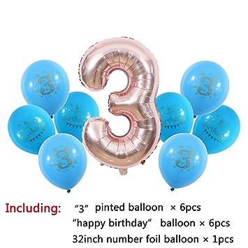 Amazon.com: Globos de fiesta de cumpleaños para niños de 1 2 ...