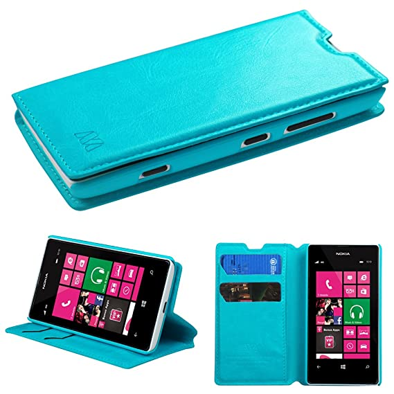 Nokia Lumia 521 Case - Wydan (TM) Credit Card Leather Wallet Style Case  Cover for Nokia Lumia 521 - Blue w/Wydan Stylus Pen