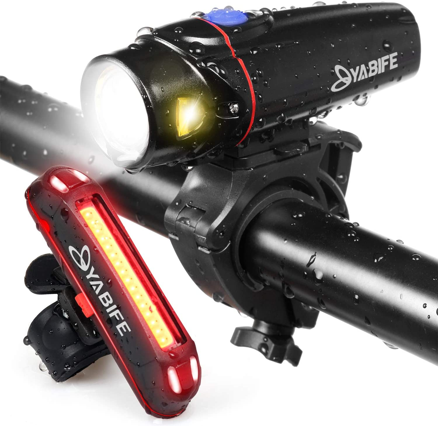 Yabife Bike Lights Sets Front Rear Waterproof Super Bright with Sensor Mode 6 Modes 100 Lumens Back Cycling Light USB Rechargeable 4 Modes 350 Lumens Bicycle Headlights