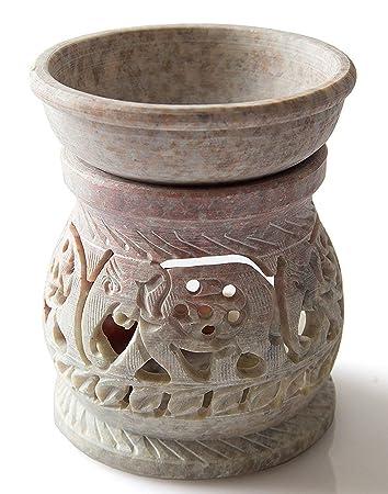 /Öl Diffusor mit Elefanten Carving f/ür Home D/écor Hashcart Teelicht Halter Votivkerze Halter Dekorative aus Speckstein