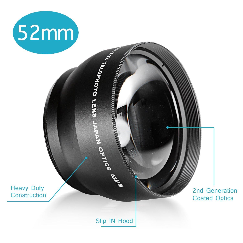 Neewer/® 52MM 2.2X Professional Telephoto Lens with Microfiber Cleaning Cloth for Nikon D3000 D600 D700 and other Digital SLR Camera D3200 D70s D5200 D80 D3 D7100 D4 D60 D50 D5300