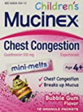 Mucinex Children's Mini Melts, Chest Congestion, Bubble Gum, 12ct