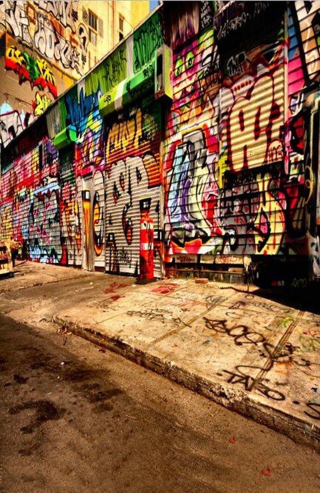 A Monamour Graffiti On The Wall Street road 5 x 7ft写真の背景幕カラフルなグラフィティパンクロック   B01MQQU4Q2