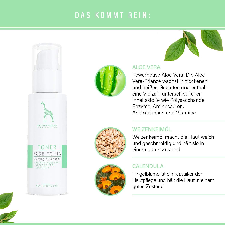 Gesichtsreinigungs-Set mit Bio-Aloe Vera und Hyaluronsäure - NATURKOSMETIK VEGAN – 2 x 125 ml by Mother Nature Cosmetics – Waschgel und Gesichtswasser für normale Haut, Mischhaut und unreine Haut