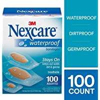 Nexcare Waterproof Clear Bandages, Germproof, Assorted Sizes, 100 Count