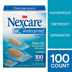 Nexcare Waterproof Clear Bandages, Dirtproof, Germproof, Assorted Sizes, 100 Count