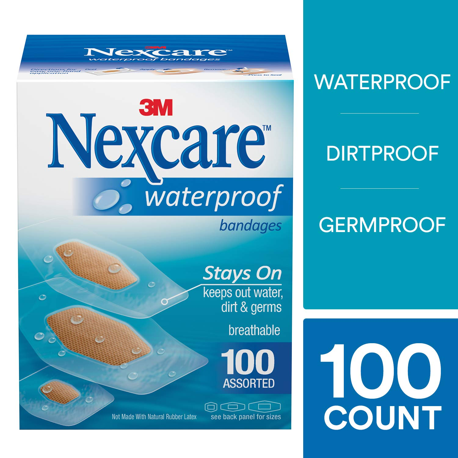 Nexcare Waterproof Clear Bandages, Stays On In Water, Breathable, Protects Cuts, Scrapes, and Blisters, Assorted Sizes, 100 Count