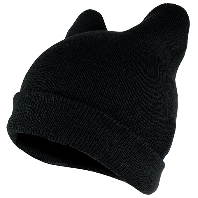 Amazon.com  Pussyhat Women s Warm Cat Ear Folded Beanie Hat - BLACK ... cfe3062158b