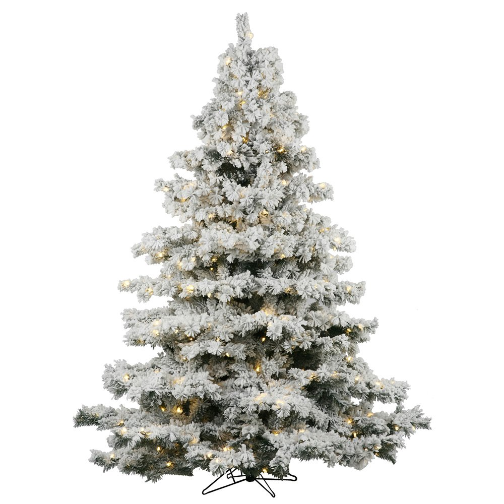 Vickerman 45' Flocked Alaskan Pine Artificial Christmas Tree with 300 Warm White Lights