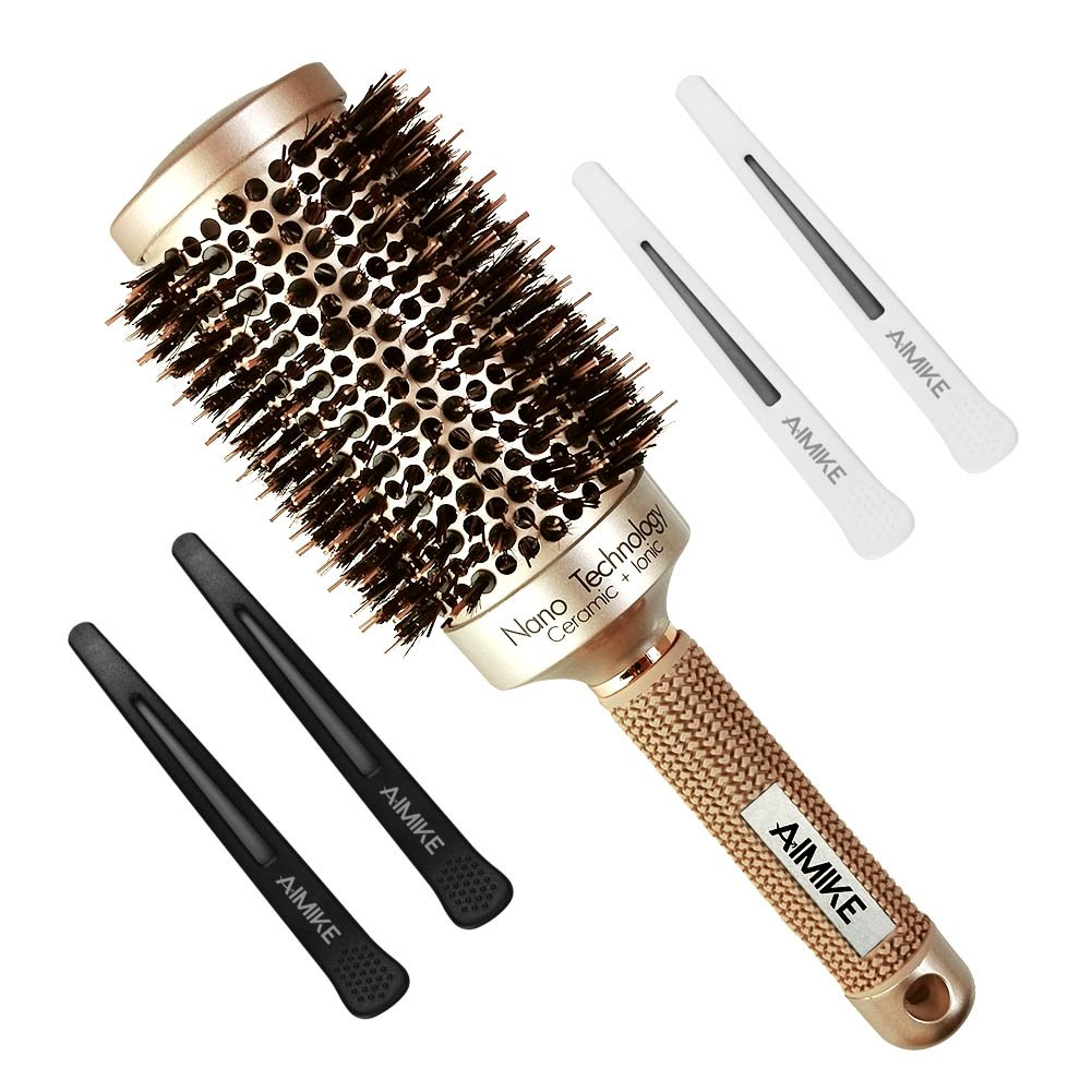 Round Brush, Nano Thermal Ceramic & Ionic Tech Hair Brush, Round Barrel Brush with Boar Bristles, Enhance Texture for Hair Drying, Styling, Curling and Shine (2.1 inch) + 4 Free Clips by Aimike