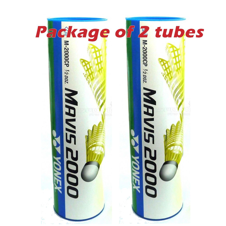 Yonex Mavis 2000 Nylon Badminton Shuttlecock (Yellow 2 Tubes)